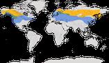 Karte zur Verbreitung des Seidenschwanzes (Bombycilla garrulus)