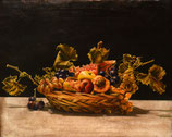 "#78-Unsigned, Fruit in Basket, oil on canvas, 15"" x 19"""
