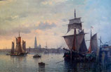 "#25-""Copenhagen Harbor"", signed oil on canvas, 24"" x 36"""
