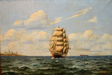 "#82-Seascape, signed oil on canvas, 38"" x 26"""