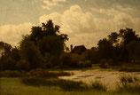 "#30-Julius Monien, signed oil on canvas, 14"" x 20"""