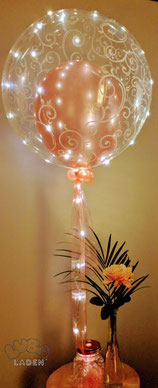 Ballon in Ballon gold rose mit Led Lichterkette