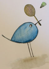 Piepmatz spielt Federball, Illustration von silvanillion