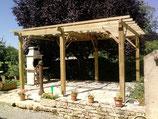 Pergola en bois - réalisation FMA Menuiserie Lezay