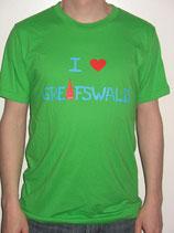 I love Greifswald-Herrenshirt, grün (Tinosh) mit blauer Schrift und rotem Herz/Turm.