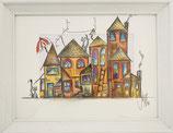 Häuser, Katze, Hund, bunt, gerahmt, Aquarell, handgemalt von Künstlerin JULIA! Neulinger -Kahl