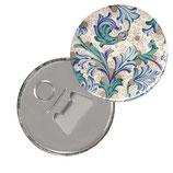 Button Taschenspiegel oder Flaschenöffner mit Magnet, Florentiner Papier Ornamente blau gold