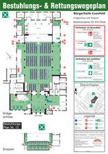 Veranstaltung mit Tischreihen / inkl. 5 Beh-Pl. / inkl. Empore (mit Tischen) (bis 474 Personen)
