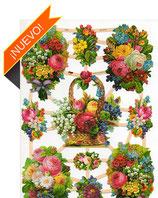 Cromos de cestas y jarrones con flores
