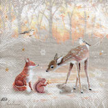 Servilletas para decoupage decoradas con animales del bosque, ciervos, ardillas...