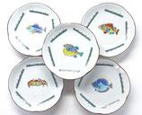 九谷焼通販 おしゃれな小皿 皿揃え 魚紋絵変り 4寸梅型 裏絵