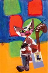 chat peinture et collage