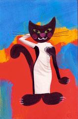 chat collage et peinture