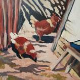 Galambos Rita: hens, village atmosphere, Acrylgemälde, Acrylmalerei, bildende Künstlerin, Malerin, Designerin, Illustratorin, Grafikdesignerin, hungarian Painter, contemporary artist, modern painting, Feldkirch, Vorarlberg , Austria