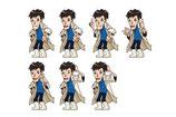 【イベントキャラクター×水族館】印刷物一式に使用するオリジナルキャラクター。様々な使い方ができるよう7種制作。親近感を持っていただけるよう従業員をイメージにデザインしました。