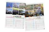 【オリジナルカレンダー×官公庁】大子町のイベント日程が記載された壁掛けカレンダー。二月ごとに四季折々の大子町の風景写真を大きく使用しており、景観の美しさも併せて紹介しています。〔B4/16頁/マットコート/中綴じ製本/1穴あけ〕