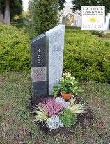 Moderne, zweifarbige Grabsteinkombination