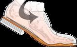 Längsschnitt durch den Korkausball eines genähten Schuhs
