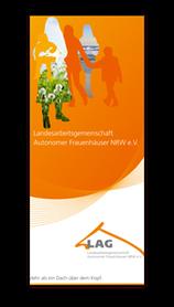 Abbildung des Info-Folders der LAG Autonomer Frauenhäuser NRW