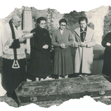 El Venerable Doroteo Hernández Vera reza a la hora de traslado de los restos mortales de Ascensión, año 1956