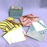 残り物の千代紙で作ったミニペーパーバッグとミニ封筒・カード