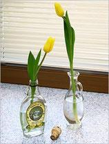 <<お花の楽しみ方>> ワインやゴブレットなどを、花器にするとおしゃれに見えます。