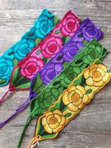 Gürtel/Band mit Blumenmuster bestickt aus Mexiko, Tischdecke, Tischdeko
