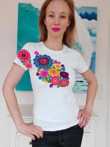 T-Shirt (weiss2) Größe M: mit Blumenstickerei