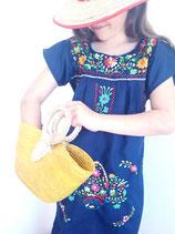 Mädchen Boho Sommerkleid, Tunika navy weiss-rote Blüte, handbestickt aus Mexiko