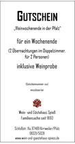 """Gutschein """"Weinwochenende in der Pfalz"""""""