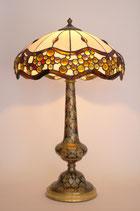 """Große Design Tiffanyleuchte """"FLORENCE"""" Einzelstück Tischleuchte Tiffany Messing"""