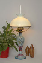 Signierte Eisch Jugendstil Petroleumlampe Glas handgemalt Unikat