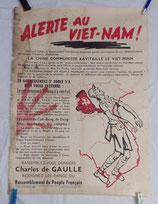 Affiche Alerte au Viet-nam !, Rassemblement du Peuple Français RPF, Charles de Gaulle, armée française Indochine