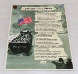 Carte avec poème de Jean Goujon, Souviens-toi d'Omaha Beach 1944 D-Day Normandie
