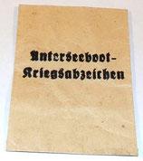 Sachet vide pour l'insigne de combat des U-Boots UNTERSEEBOOT-KRIEGSABZEICHEN allemand WW2