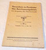 Annuaire des codes postaux, Verzeichnis der postämter des reichspostgebiets mit angabe der postleitzahl, allemand WW2