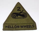Insigne 2nd Armored Division Hell On Wheels armée US