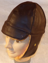 Bonnet/serre-tête cuir marron fourré de pilote/aviateur ou conducteur automobile/moto type WW1 REPRODUCTION