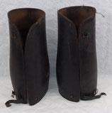 Paire de guêtres en cuir noir officier/Gendarmerie français WW1/WW2