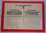 Affiche Ordonnance concernant la vente et l'achat de vivres et d'articles d'usage courant dans les territoires occupés allemande WW2