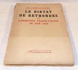 Livre Le diktat de Rethondes et l'armistice franco-italien de juin 1940, Flammarion