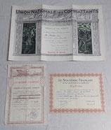 Grouping certificat de bonne conduite 117ème Régiment d'Infanterie RI, diplômes UNC et Souvenir Français 1930/1950