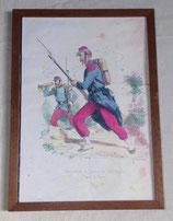 Cadre avec photocopie d'une œuvre Grenadier et clairon de Voltigeurs (tenue de guerre) français