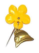 Insigne épingle casque et fleur orange Sapeurs-Pompiers français