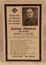 Avis de décès d'un Gefreiter Heer allemand WW2