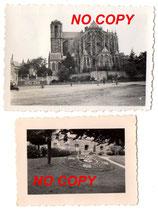 Lot de 2 photos allemandes WW2 Le Mans cathédrale et horloge florale