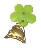 Insigne épingle casque et fleur verte Sapeurs-Pompiers français
