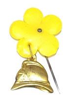 Insigne épingle casque et fleur jaune Sapeurs-Pompiers français