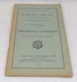 Manuel Décret du 1er avril 1933 portant règlement du service dans l'armée, 1ère partie, Discipline générale 1940 français WW2