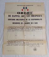 Affiche Ordre de rappel sous les drapeaux de certains militaires de la disponibilité et des réserves de l'armée de l'air française
